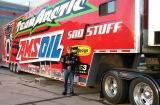 Amsoil snowmobile racing truck and Kent Whiteman Amsoil Dealer