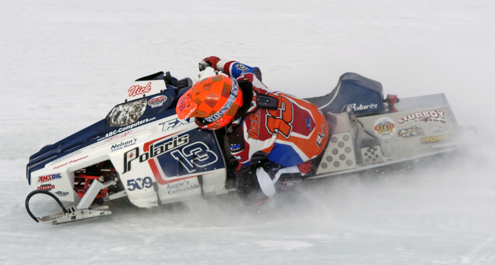 Team AMSOIL ice oval racer Nick Van Strydonk