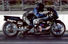 Amsoil motorcycle oil sponsored drag racer