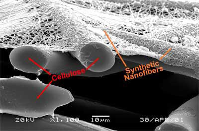 Comparison of Amsoil Nanofiber filter media to cellulose material